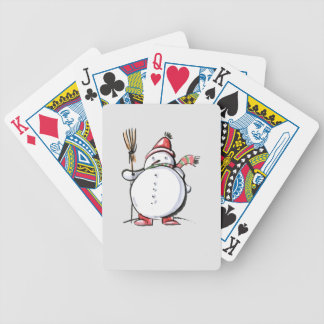 Cute Christmas Snowman Bicycle Playing Cards