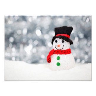 Cute Christmas Snowman Bokeh Photograph