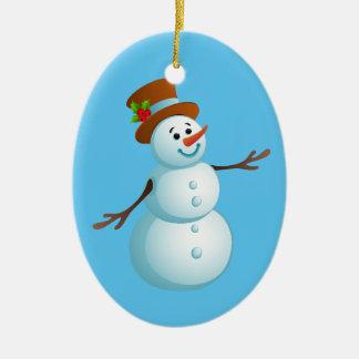 Cute Christmas Snowman Ceramic Oval Ornament