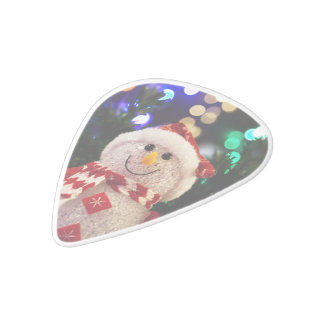 Cute Christmas snowman decoration White Delrin Guitar Pick