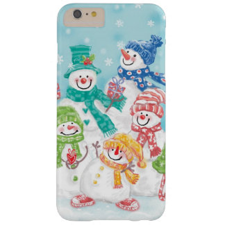 Cute Christmas Snowman Family in the Snow Barely There iPhone 6 Plus Case