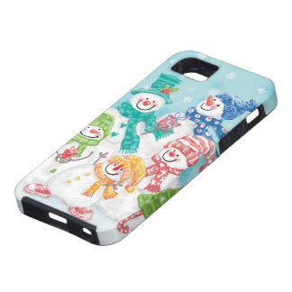 Cute Christmas Snowman Family in the Snow iPhone 5 Cover