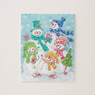 Cute Christmas Snowman Family in the Snow Jigsaw Puzzle