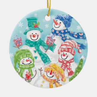 Cute Christmas Snowman Family in the Snow Round Ceramic Decoration