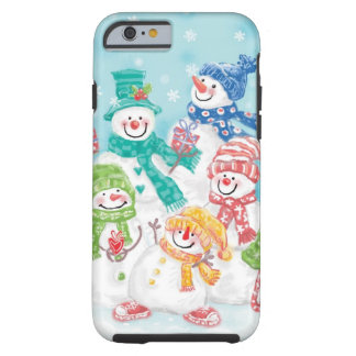 Cute Christmas Snowman Family in the Snow Tough iPhone 6 Case
