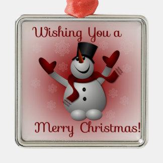 Cute Christmas Snowman Red Black Ornament