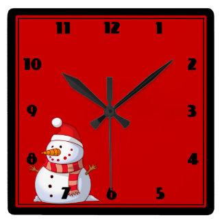 Cute Christmas Snowman Square Wall Clock