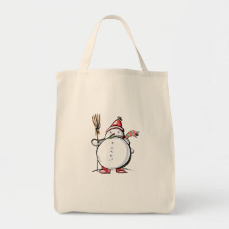 Cute Christmas Snowman Tote Bag
