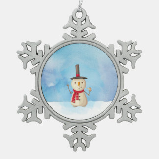 Cute Christmas Snowman Waving And Smiling Pewter Snowflake Decoration