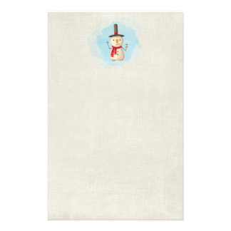Cute Christmas Snowman Waving And Smiling Stationery Paper