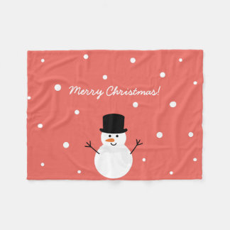 Cute Christmas Snowman Winter Festive Holiday Snow Fleece Blanket