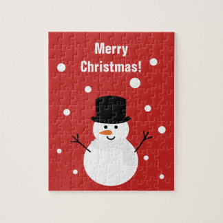 Cute Christmas Snowman Winter Festive Holiday Snow Jigsaw Puzzle