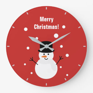 Cute Christmas Snowman Winter Festive Holiday Snow Large Clock