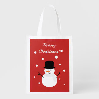 Cute Christmas Snowman Winter Festive Holiday Snow Reusable Grocery Bag