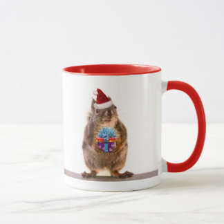 Cute Christmas Squirrel and Gift Mug