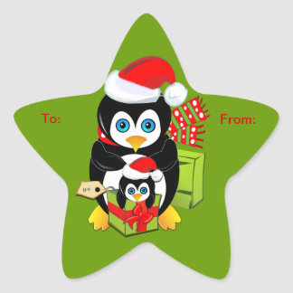 Cute Christmas sticker with Penguins
