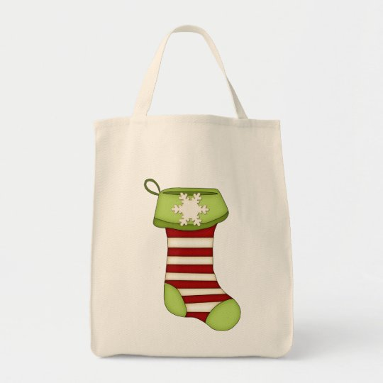 Cute Christmas Stocking-Green with Red Stripes