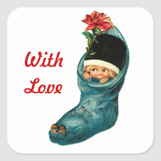 Cute Christmas Stocking ,Little Child,White Red Sticker