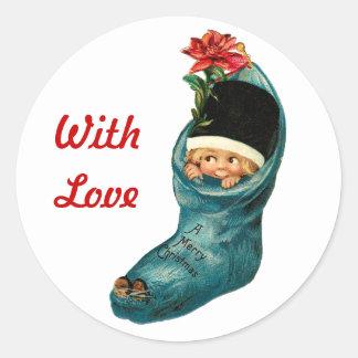 Cute Christmas Stocking ,Little Child,White Red Round Sticker