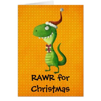 Cute Christmas T-rex Card
