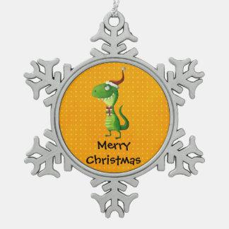 Cute Christmas T-rex Snowflake Pewter Christmas Ornament