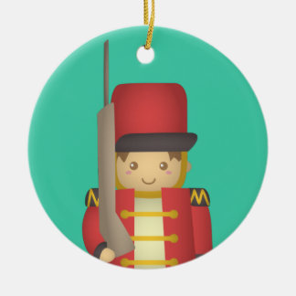 Cute Christmas Toy Soldier Boy in Red Round Ceramic Decoration