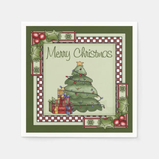 Cute Christmas Tree and Gifts Merry Christmas Disposable Napkin