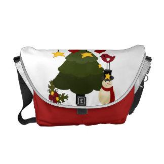 Cute Christmas Tree Decorating Snowman Bird Stars Courier Bags