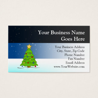 Cute Christmas Tree in Snow Business Card