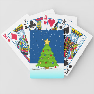 Cute Christmas Tree in Snow Poker Deck