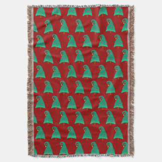 Cute Christmas Tree Pattern On Red Throw Blanket