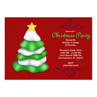 CUTE Christmas Tree With Red Border 13 Cm X 18 Cm Invitation Card