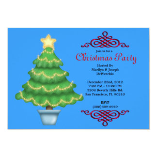 CUTE Christmas Tree With Red Border Invite