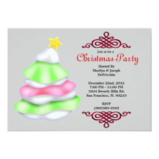CUTE Christmas Tree with Snow & Red Border Christm 13 Cm X 18 Cm Invitation Card