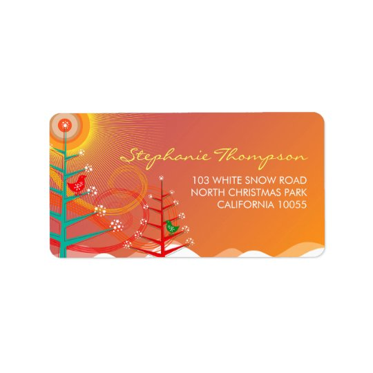 Cute Christmas Trees Chicks Holiday Address Labels