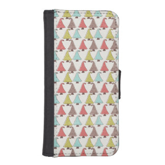 Cute Christmas Trees Pattern iPhone 5 Wallet Case