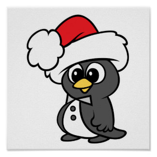 Cute Christmas Tuxedo Penguin Poster