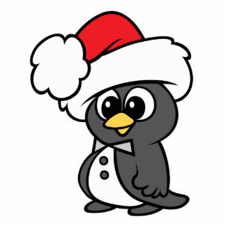 Cute Christmas Tuxedo Penguin Standing Photo Sculpture