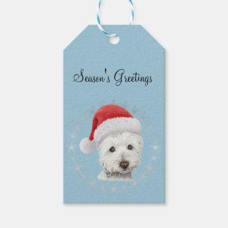 Cute Christmas Westie Dog Art Gift Tag