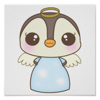 cute christmas winter angel penguin poster