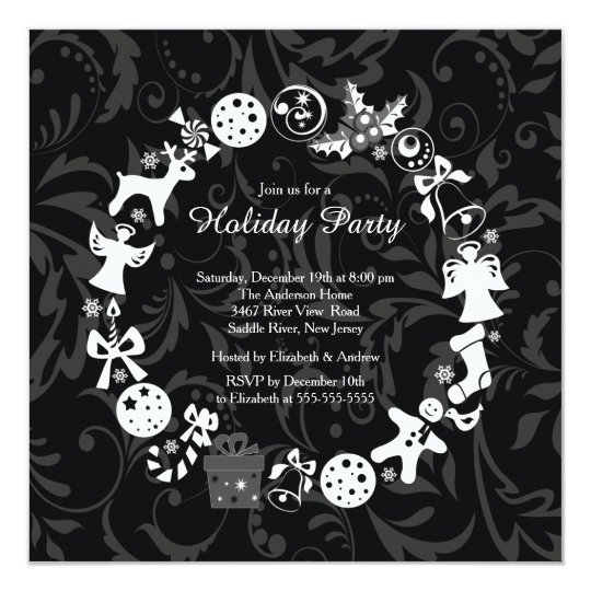 Cute Christmas Wreath Holiday Party Invitation