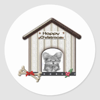Cute Christmas Yorkie Dog Gifts Classic Round Sticker