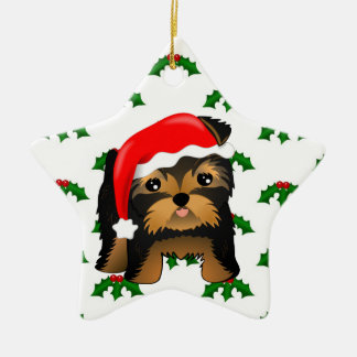 Cute Christmas Yorkshire Terrier Puppy Dog Ceramic Star Decoration