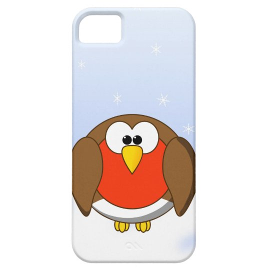 Cute, Chubby Little Cartoon Robin Redbreast Bird Barely