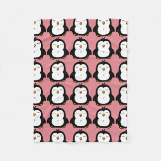Cute Chubby Penguin Image Pattern Fleece Blanket