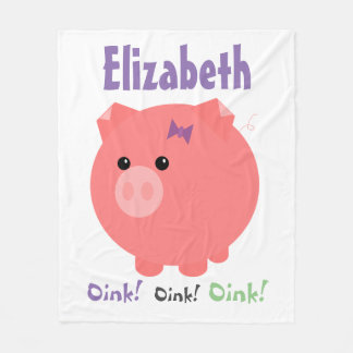 Cute Chubby Pig Fleece Blanket