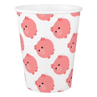Cute Chubby Pig Party Cups