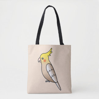 Cute Cinnamon Cockatiel Cartoon Bird Illustration Tote Bag