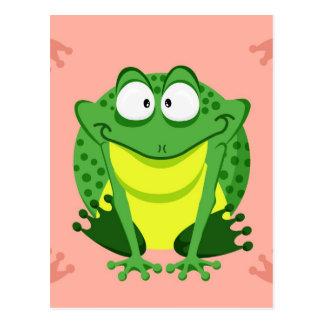 Cute circle frog post card