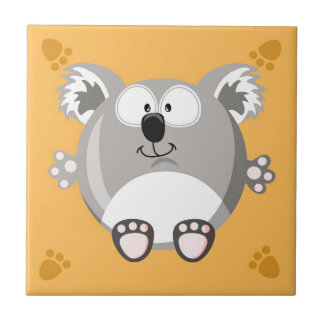 Cute circle Koala Small Square Tile